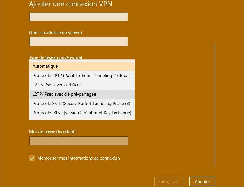 Configuration L2TP/IPsec en manuel